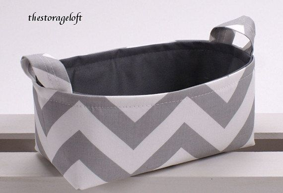 Storage Basket Organizer Container Basket Bin - Gray White Chevron Zigzag Fabric. $24.00, via Etsy.