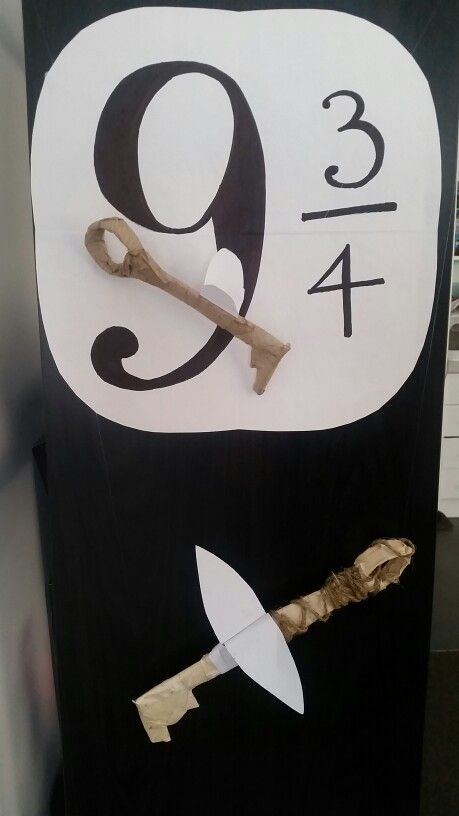 Flying keys & platform 9 3/4 sign. Paper mache keys