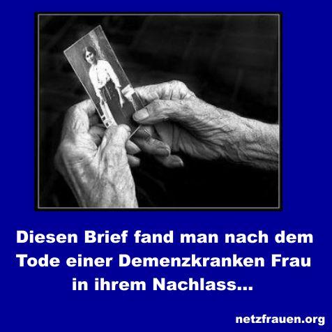 Demenz: 1,2 Millionen Demenzbetroffene soll es mittlerweile in Deutschland.Diesen Brief fand man nach dem Tode einer Demenzkranken Frau in ihrem Nachlass