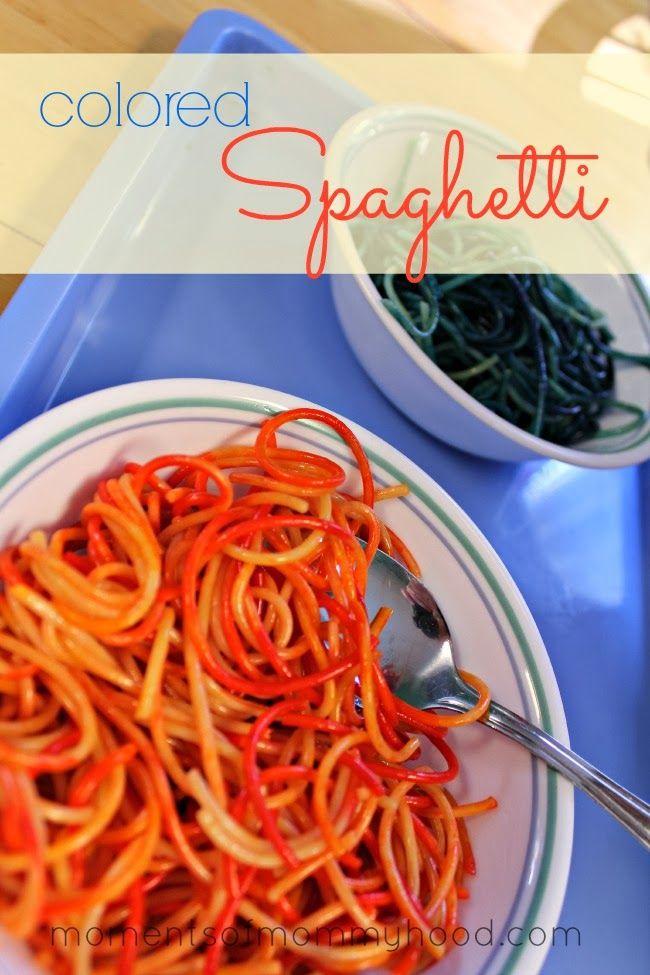 Moments of Mommyhood: Colored Spaghetti Scissor Practice