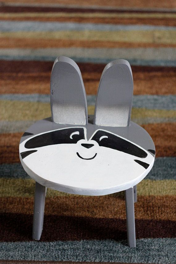 Kid's Animal Stool/Chair Raccoon by BrandNewToMe on Etsy