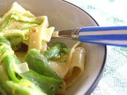 Fettuccine and Asparagus Ribbons with Lemon Creme