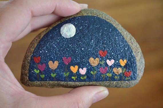 Painted Rock Desktop Decor Night Garden Flower Rock Hand