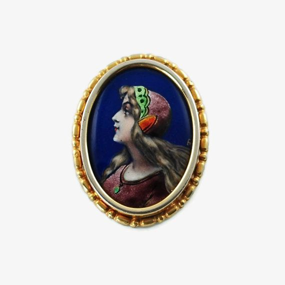 Antique French Limoges Fired Enamel Brooch with by BirneyCreek