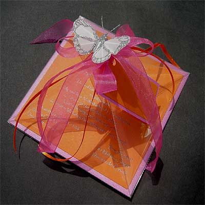 Ref pyramid Funky ( we can do any colour) www.weddingcards.co.za
