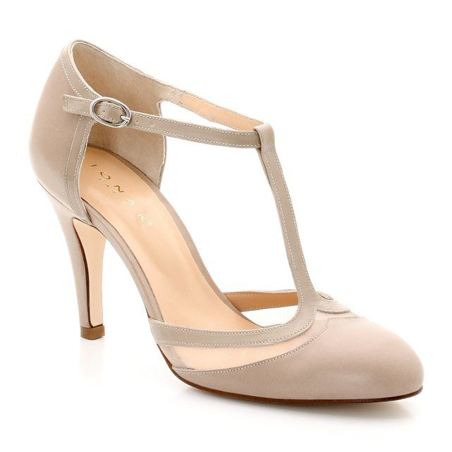 JONAK Dual Fabric Patent Leather and Tulle T-Bar Shoes