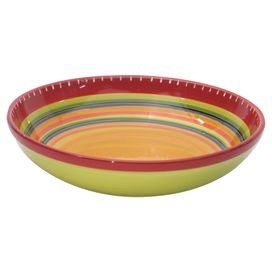 Ceramic serving bowl hand-painted with a Southwestern stripe motif.  Product: BowlConstruction Material: CeramicColor: MultiFeatures:  Designed by Nancy GreenHand-painted Dimensions: 4.5 H x 15 DiameterCleaning and Care: Dishwasher and microwave safe
