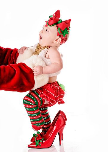 Would this ever be ADORABLE for a Christmas card!..This would be so easy to do. Just put a Santa jacket and gloves on a Mommy or Daddy, toss the baby up in the air and snap the photo. I think this would be even cuter if the photo was from the front of the baby. Then the Santa arms would be wrapped around the photo. @arlene Mederos