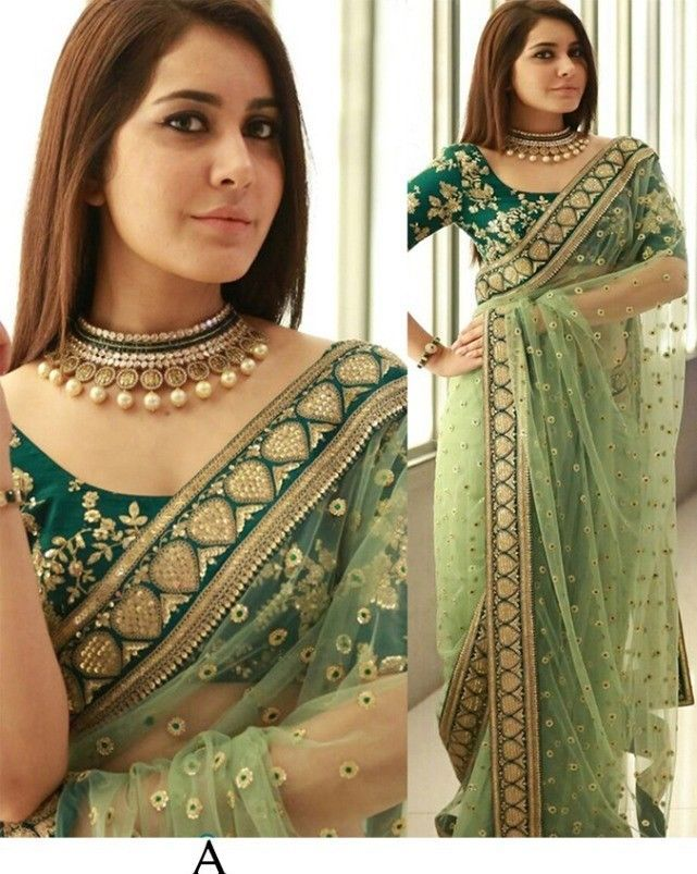 pakistani saree indian new year wedding sari bollywood stayle NAYLON MONO NET