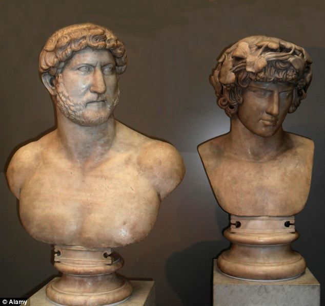 A marble bust of Hadrian, Roman emperor between AD117 and AD138, next to his lover Antinous, adorned with a wreath like a god, at whose death in AD130 he is recorded as 'weeping like a woman'