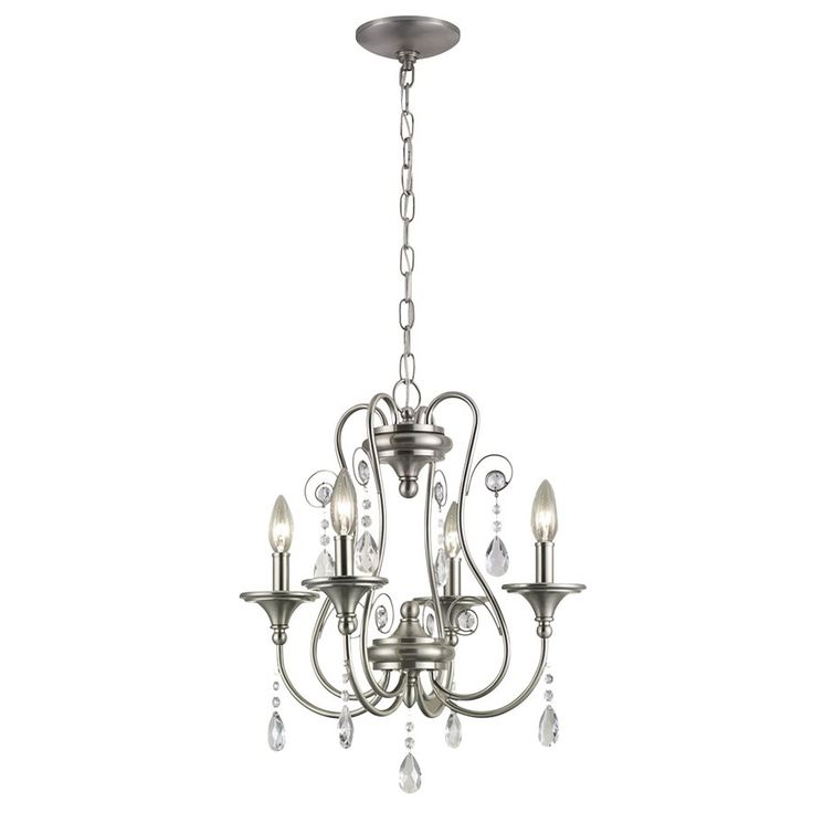 Shop Portfolio  Opula 4-Light Brushed Nickel Crystal Chandelier at Lowe's Canada. Find our selection of chandeliers at the lowest price guaranteed with price match + 10% off.