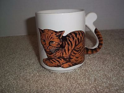Tiger Stripe Cat with Tail as Handle Coffee Tea Mug Cat Lover Made in Japan