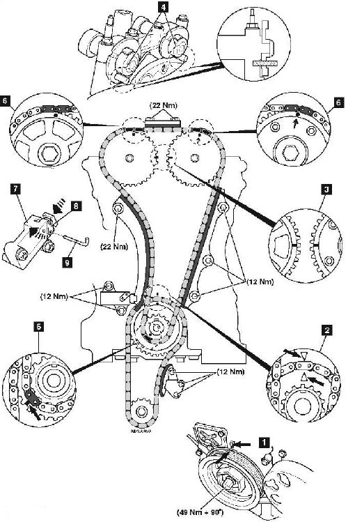 Замена цепи ГРМ Honda CR V  двигатель K24Z1