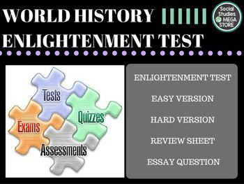 Enlightenment Test and Quizzes BOOK:  Prentice Hall World History The Modern World THE FIRST SEMESTER OF WORLD HISTORY THE WHOLE YEAR OF WORLD HISTORY  Here is what is included:  - Enlightenment Test / Quizzes- Paragraph Ideas - World History pacing Guide - 3 Essays for each unit- Common assessment - Review sheet / Test key *************************************************************************** - 1.