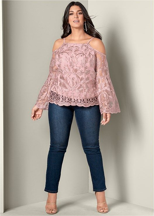 32e1d969d923f9 Lace bell sleeve top in 2019