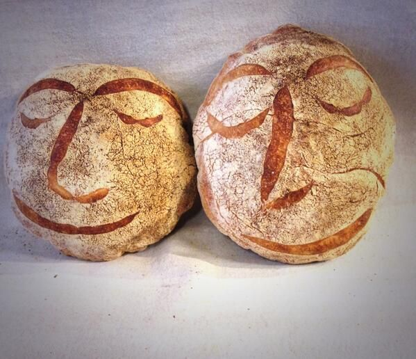 """Self-portrait in our Elderflower stonebaked boules. I'm the taller one."" —Simon Thomas ([@]realArtisan). Photo pinned with his permission."