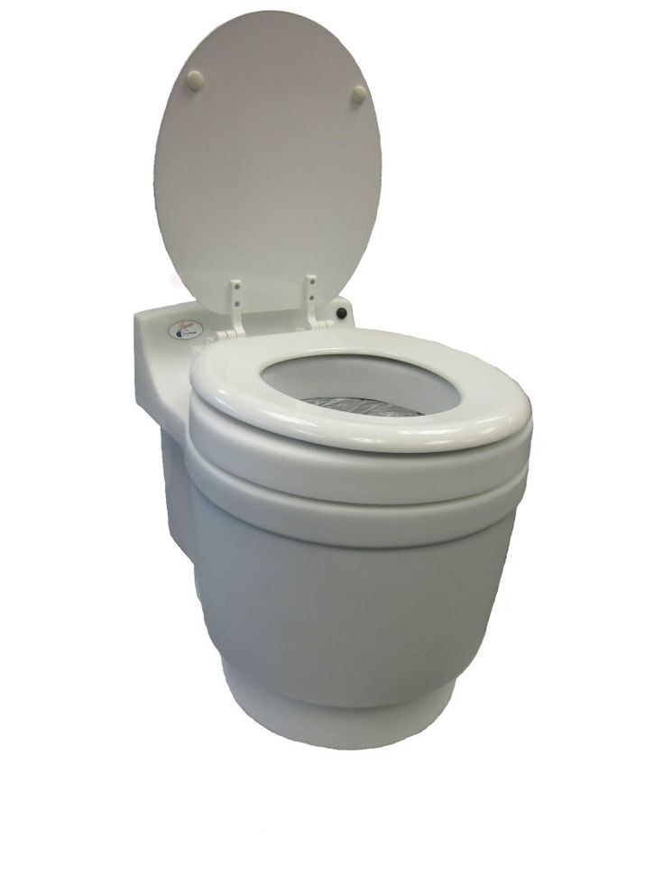Dry Flush | The Waterless Toilet $420 rechargeable DC 12v battery pack (AC avail.) full size toilet only one moving part no water, no chemicals, no freezing, no spill, no smell