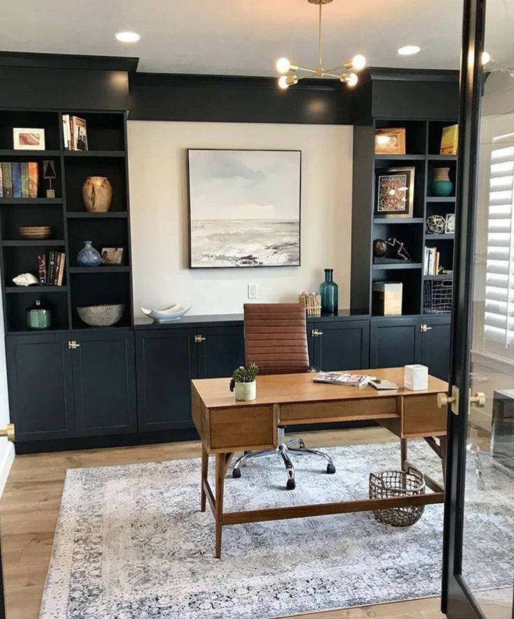 Modern Meets Traditional Home Office Iwht Dark Gray Built Ins Built In Bookcases In Navy For Transitio Home Office Design Modern Home Office Home Office Decor