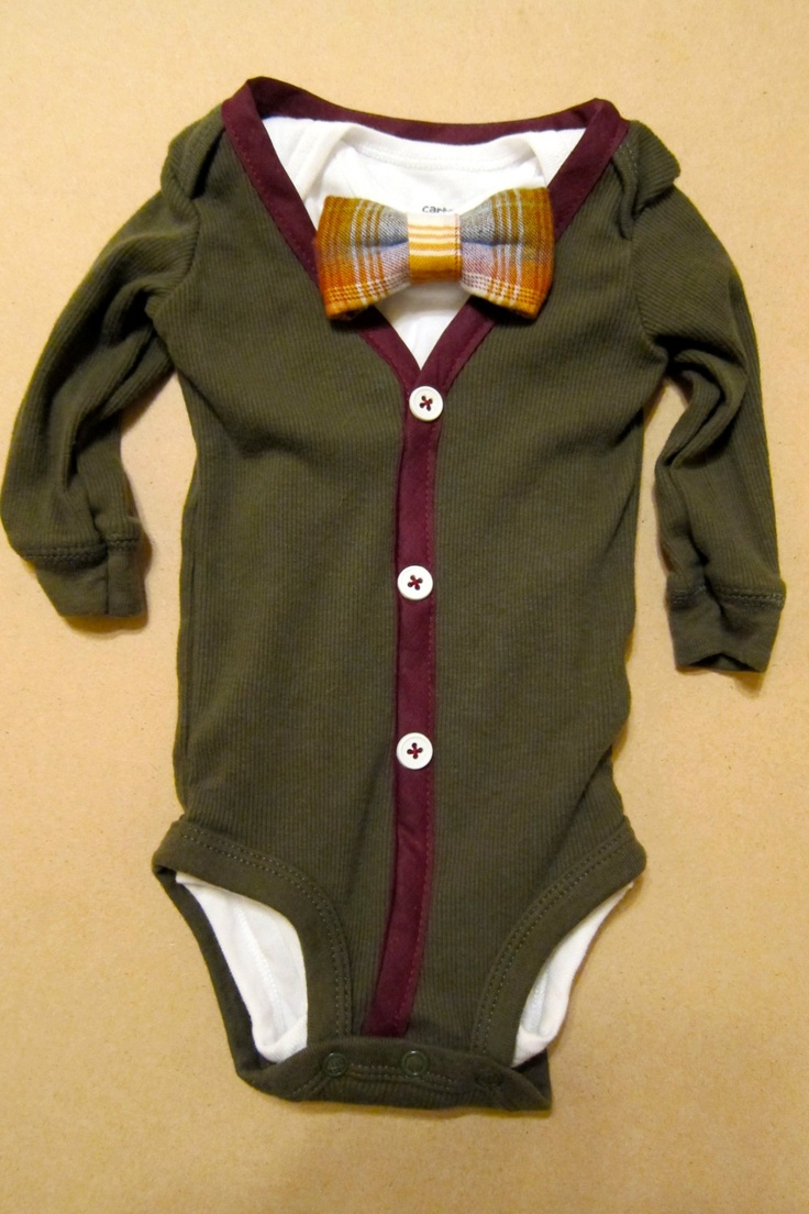Baby Boy Outfit - Olive/Burgundy Cardigan - Bow Tie Onesie. $30.00, via Etsy.