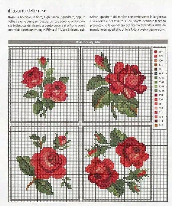 Tutoriales y DIYs: Patrón punto de cruz rosas rojas
