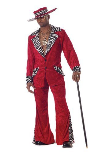 awesome  Deluxe Red Pimp Men's 1970s Fancy Dress 70s Party Adult Costume Outfit + Hat Large
