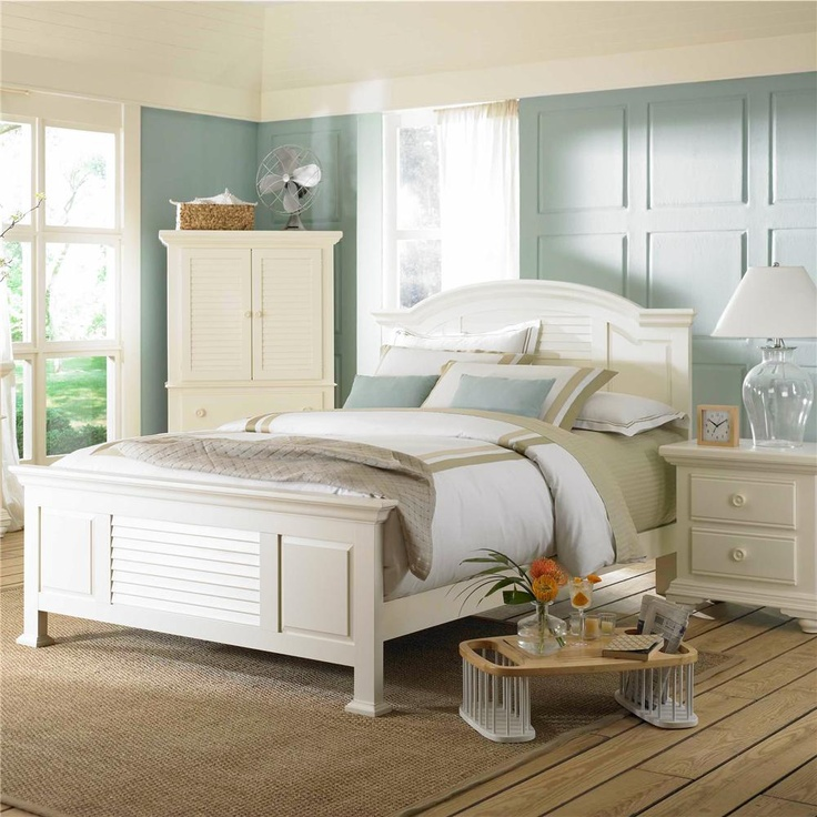 Pleasant Isle Full/Queen Cottage Style Panel Bed With Slatted Headboard By Broyhill  Furniture