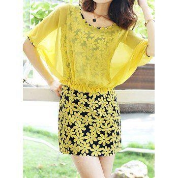 Faux Twinset vestido de manga corta con cuello redondo Floaal impresión de las mujeres para Vender - La Tienda En Online IGOGO.ES