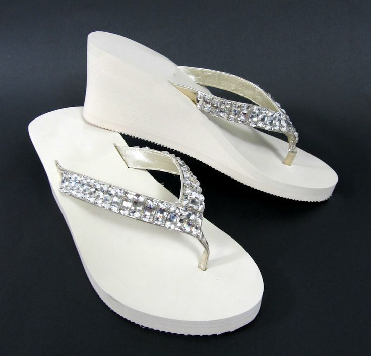 Ivory Bridal Wedge Flip Flops With Rhinestone Straps