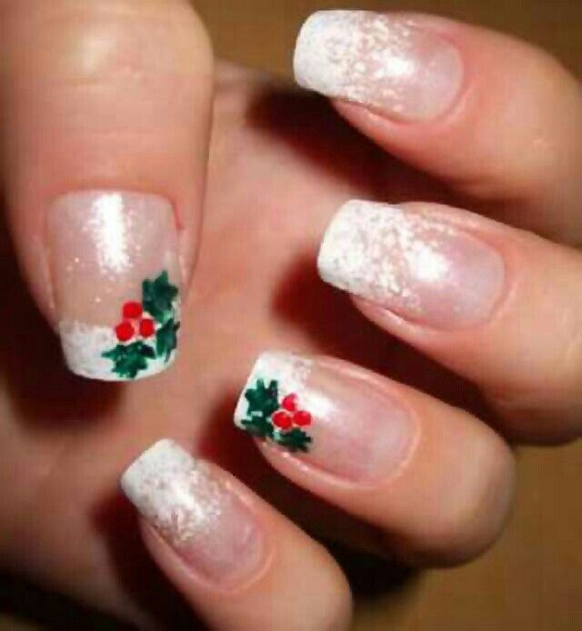 Christmas Nails - so cute! I would do sheer, sparkly polish on the whole nail.
