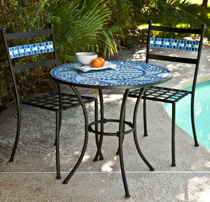 Mosaic Bistro Set With Black Cushion   Terra Cotta. Pool FurnitureOutdoor  ...