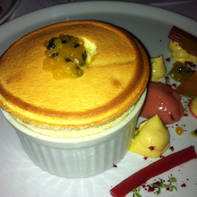 Passion fruit and rhubarb souffle at The Press Club, Melbourne