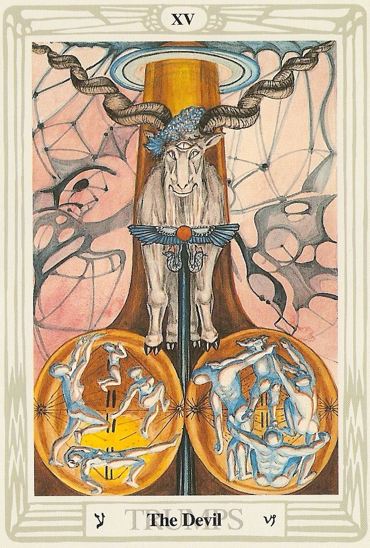 """Perhaps the most misunderstood card of all the major arcana, the Devil is not really """"Satan"""" at all, but Pan the half-goat nature god and/or Dionysius (Bacchus). These are gods of pleasure and abandon, of wild behavior and unbridled desires. Sometimes, this card says, it is good to dance with Bacchus, surrendering control, or be Bacchus and manipulate. Too much restraint can hold you back and keep you from achieving important things."""