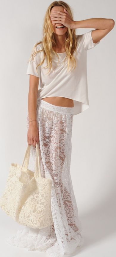 Inspiration for my next sewing project,  lace beach coverup - we love the white and beige #beachwear #beach #sunsurfsand