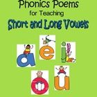 Vowels (a, e, i, o, u) are fun to teach with these 23 phonics poems targeting short vowels and long vowels!     If you liked these FREE phonics poe...