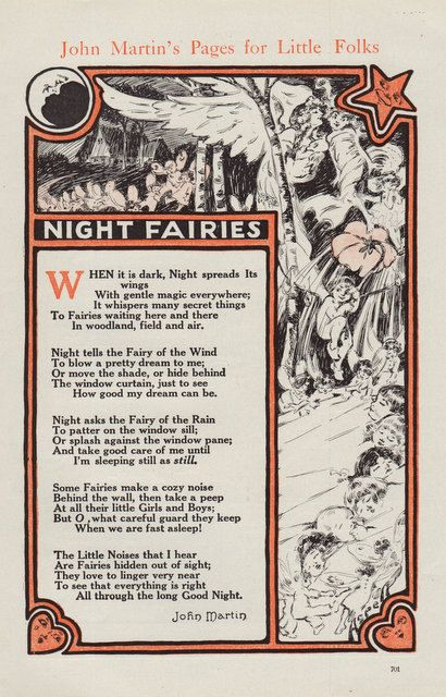 Vintage Print Night Fairies Poem John Martin's Pages for Little Folk fae faery. $8.00, via Etsy.