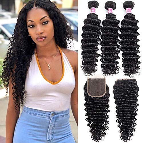 New Wingirl Hair Deep Wave Bundles With Closure Double Weft Human Hair 8A Grade Brazilian Hair Weave 3 Bundles With Closure Natural Color (18 20 22+16) online