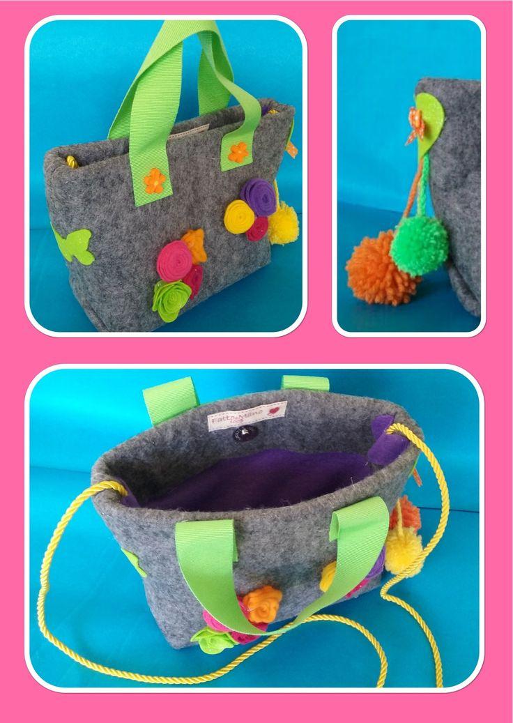 Childs felt Bags flowers hand made DIY
