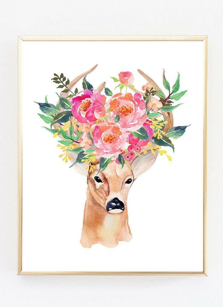 Printable Wall Art   Deer art print, Bohemian wall art, Boho Decor, Office prints, Woodland nursery wall art, Printable decor, Shabby chic wall decor, Floral art  #etsy #printable #wallartprints #wallart #wallartdecor #floraldecor #affiliate  #deerdecor #deerpainting