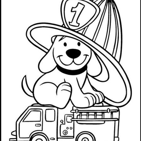 cute clifford the big red dog coloring and drawing sheet
