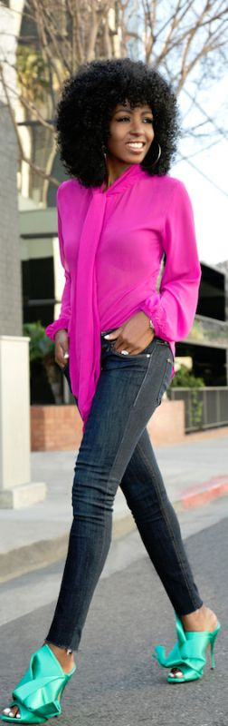 Magenta Tie Front Blouse + Dark Rinse Ankle Jeans / Fashion look by Style Pantry #fashion
