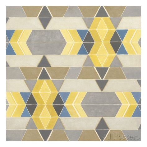 Blue and Yellow Geometry I Affiches par Megan Meagher sur AllPosters.fr