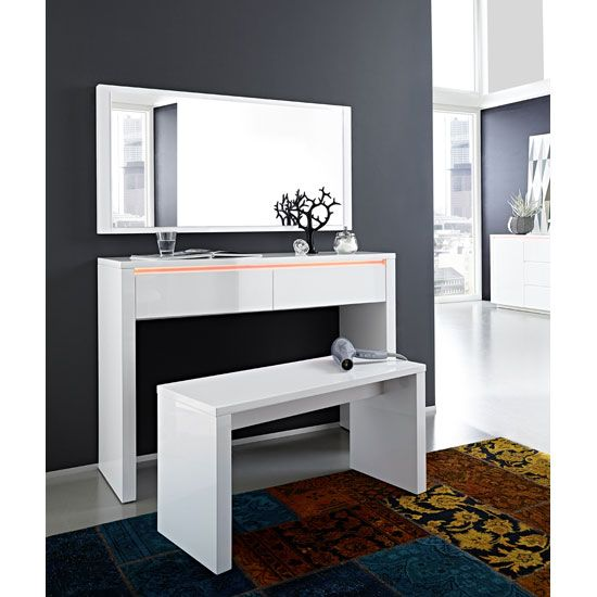 Fino High Gloss White Dressing Table Set With Mirror : Buy Cheap Console  Table Mirror