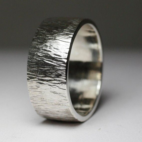 Wood Bark Textured Wide Mens Wedding Band Etsy In 2020 Engagement Rings For Men Rings For Men Silver Engagement Rings