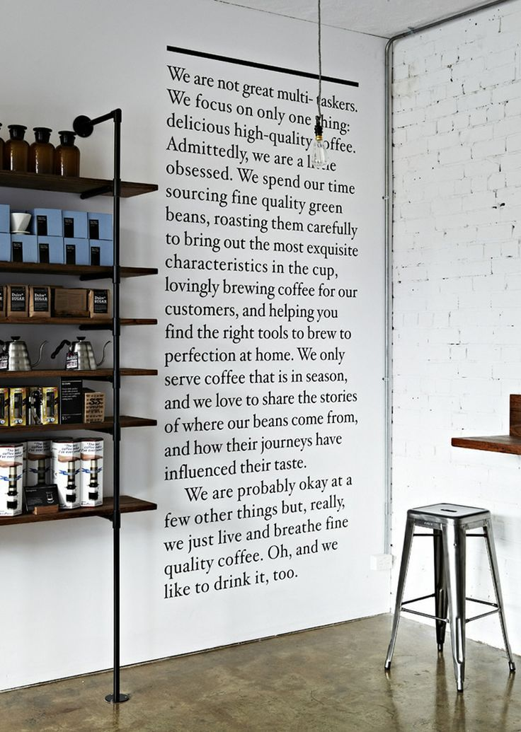 love the story on the wall. Would like people to stop by and read about our concept as well.