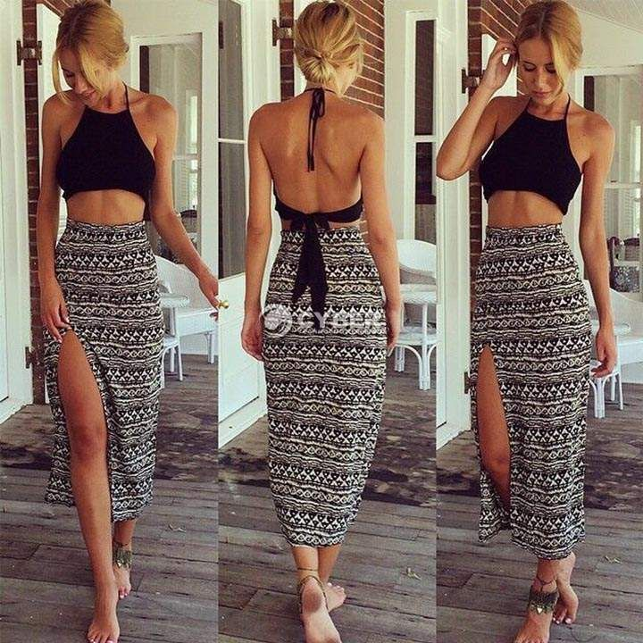 Women 2 Piece Set Sleeveless Dress Halter Backless Crop Top+Long Maxi Skirt Sexy