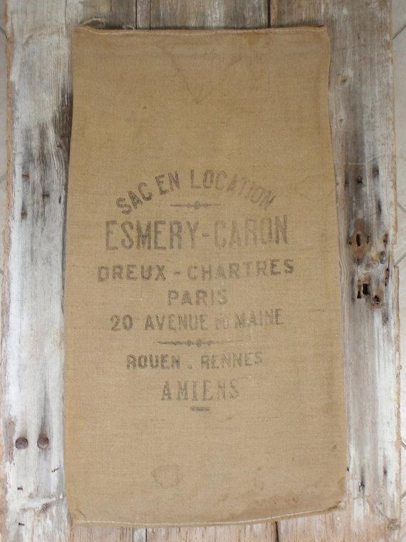 Wonderful burlap sacks for the vintage look on furniture!
