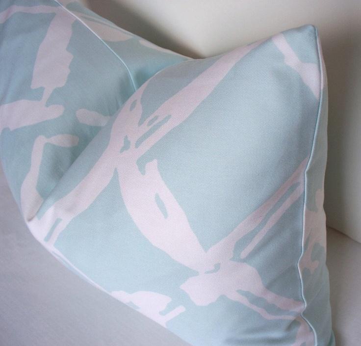 Aqua Blue Lattice Trellis Pillow Cover - Decorative pillow cover - Robert Allen lumbar - throw ...