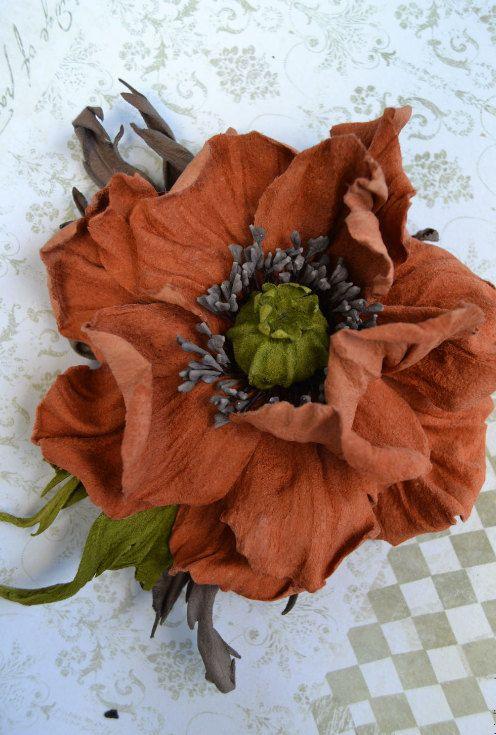 Red Poppy, Leather flowers,  poppy corsage flower, leather gift for her, flower brooch, leather jewelry, leather poppy. Birthday gift by FeltSilkArtGift on Etsy