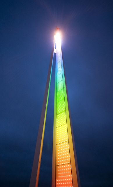 Rainbow Tower by Semi-detached, via Flickr :: In Southend-on-Sea, Essex. These 20-metre tall towers on the seafront have LEDs running their full height which switch on at night to produce quite interesting flowing rainbow patterns and animation.