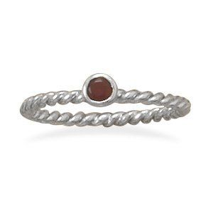 Sterling Silver Rhodium Plated Dark Red Glass Ring West Coast Jewelry. $16.95